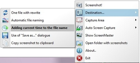 Menu for auto screen capture software