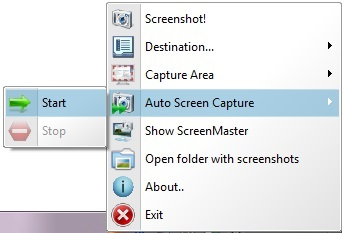 Tray menu for hidden screen capture